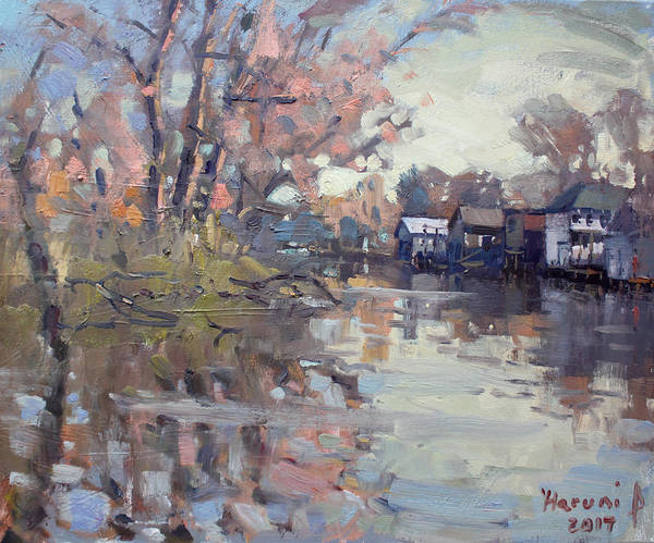Wall Art - Painting - Boathouses At Eastern Park And Kayak Launch  by Ylli Haruni