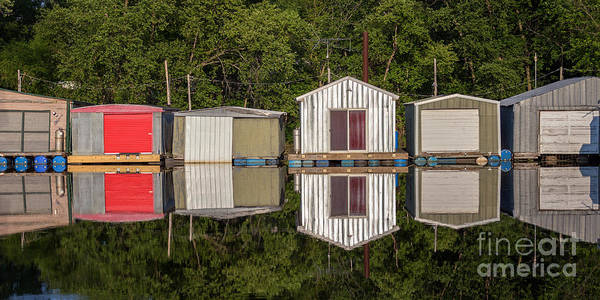 Photograph - Boathouses In A Row by Kari Yearous