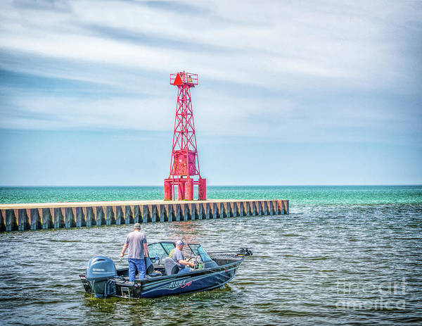 Photograph - Boating At Pentwater Light by Nick Zelinsky