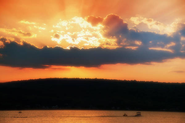 Wall Art - Photograph - Boating At Sun Set Finger Lakes New York by Thomas Woolworth