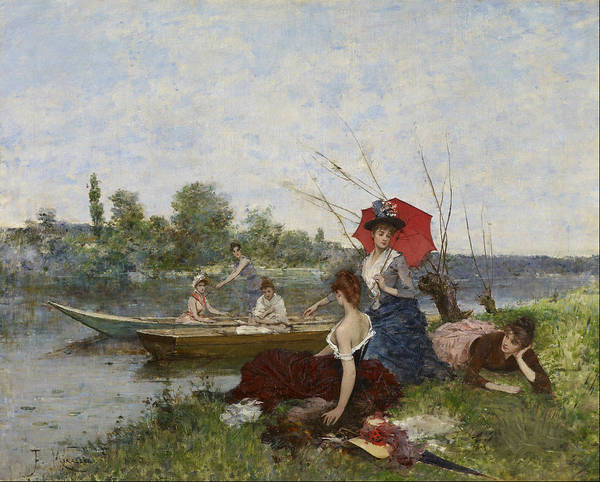 I Dream Painting - Boating Ca. 1888 by Francesc Miralles I Galaup