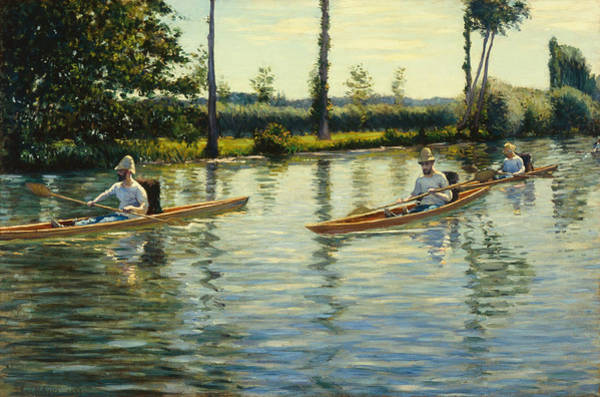 Angler Art Painting - Boating On The Yerres Perissoires Sur Lyerres 1877 by Gustave Caillebotte