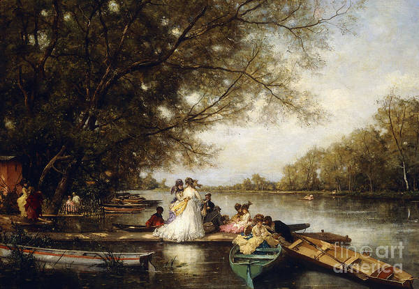 Victorian Era Painting - Boating Party On The Thames by Ferdinand Heilbuth