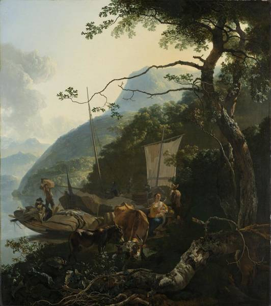 Painting - Boatmen Moored On The Shore Of An Italian Lake by Celestial Images