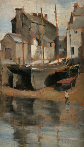 Newlyn Painting - Boats And Cottages  by Norman Garstin