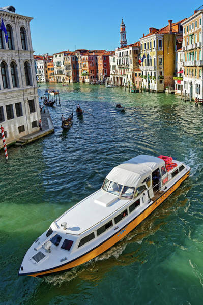 Photograph - Gondolas And Vaporettos, A Seascape Of The Grand Canal In Venice, Italy by Fine Art Photography Prints By Eduardo Accorinti