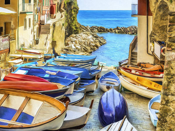 Painting - Boats At Cinque Terre by Dominic Piperata