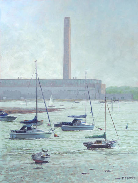 Wall Art - Painting - Boats At Fawley Hampshire by Martin Davey