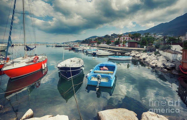Photograph - boats at harbour ,  Ischia island in Italy by Ariadna De Raadt