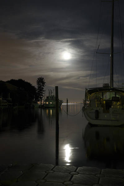 Boats At Moon Rise Art Print