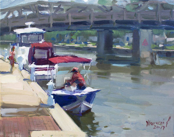 Tonawanda Wall Art - Painting - Boats At North Tonawanda Canal by Ylli Haruni