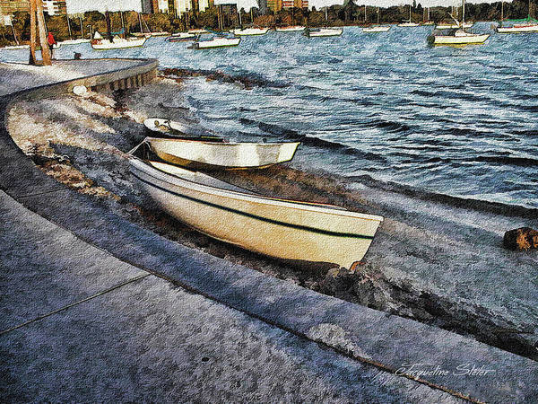Digital Art - Boats At The Bay by Jacqueline Sleter