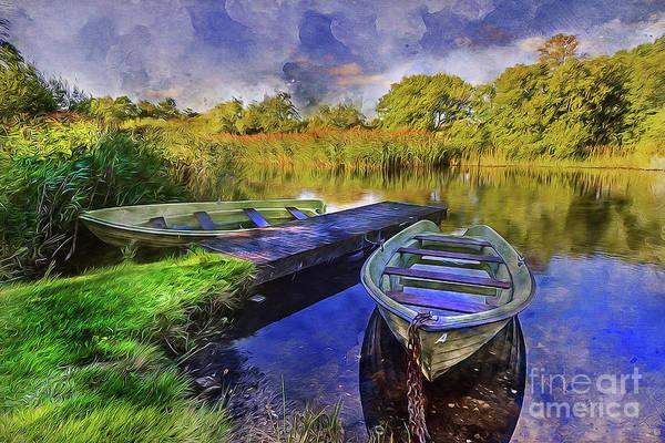 Sunny Mixed Media - Boats At The Lake by Ian Mitchell