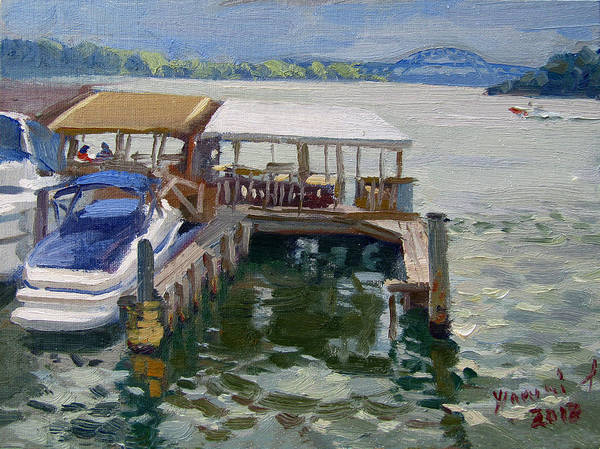 Wall Art - Painting - Boats At The Shores by Ylli Haruni