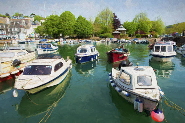 Dingy Digital Art - Boats In Harbour Dartmouth Devon Uk by Michael Charles