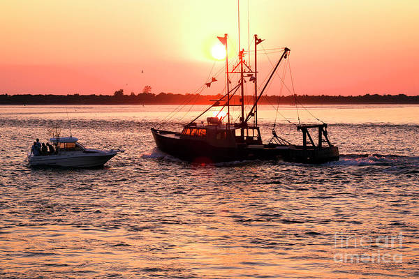 Down The Shore Photograph - Boats In The Night At Long Beach Island by John Rizzuto