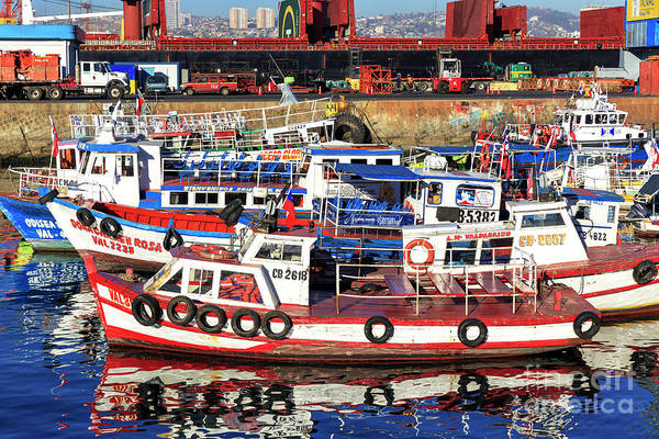 Photograph - Boats In The Port Of Valparaiso Chile by John Rizzuto