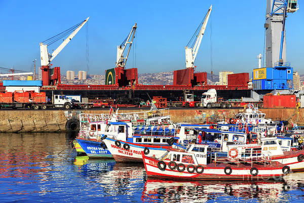 Photograph - Boats In Valparaiso Chile by John Rizzuto
