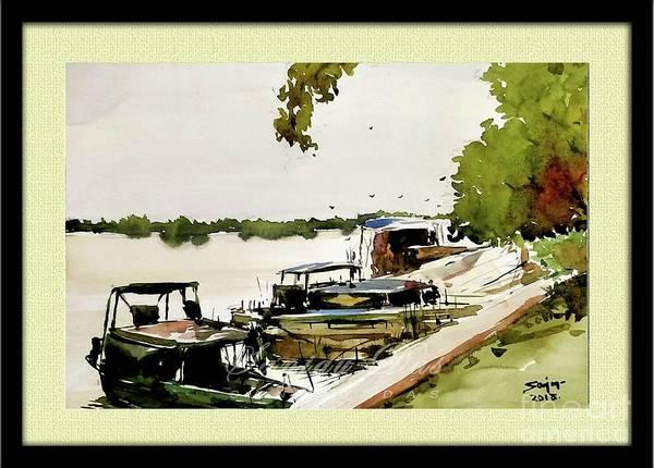 Boats In Village Art Print