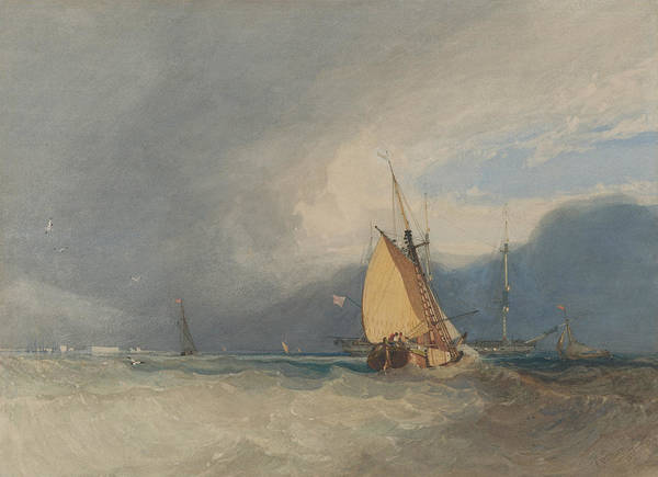 Wall Art - Drawing - Boats Off The Coast, Storm Approaching by John Sell Cotman
