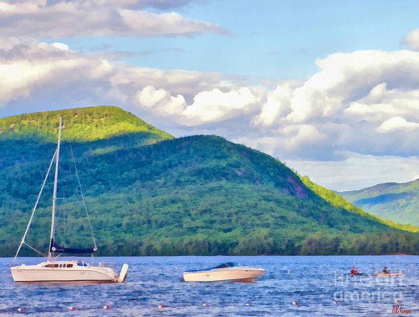 Adirondack Mountains Painting - Boats On Lake George by Anne Kitzman