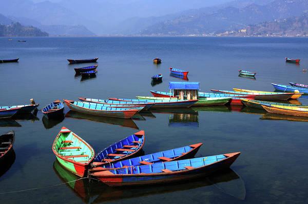 Photograph - Boats On Phewa Lake, Pokhara, Nepal by Aidan Moran