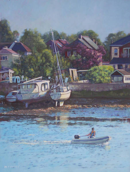 Wall Art - Painting - Boats On Riverside Park Bank by Martin Davey