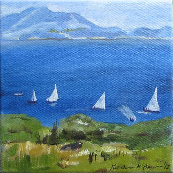 Painting - Boats On The Bay by Kathleen Barnes