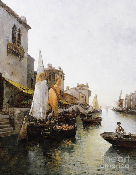 Wall Art - Painting - Boats On The Canal by Leo von Littrow
