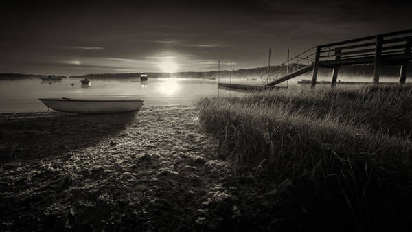 Wall Art - Photograph - Boats On The Cove At Sunrise In The Fog - Black And White Photograph by Dapixara Art