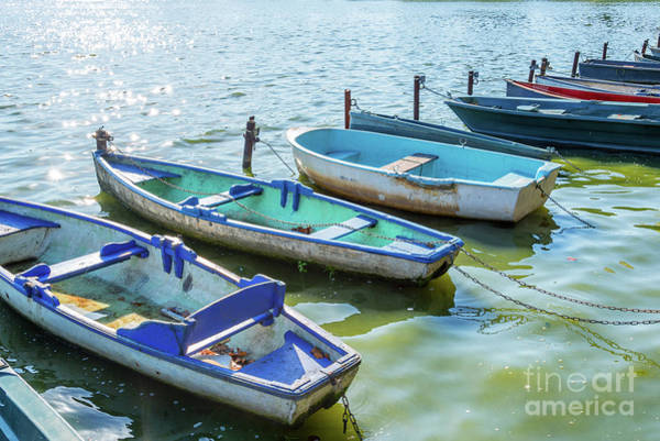 Small Boat Wall Art - Photograph - Boats On The Lake Of Enghien by Delphimages Photo Creations