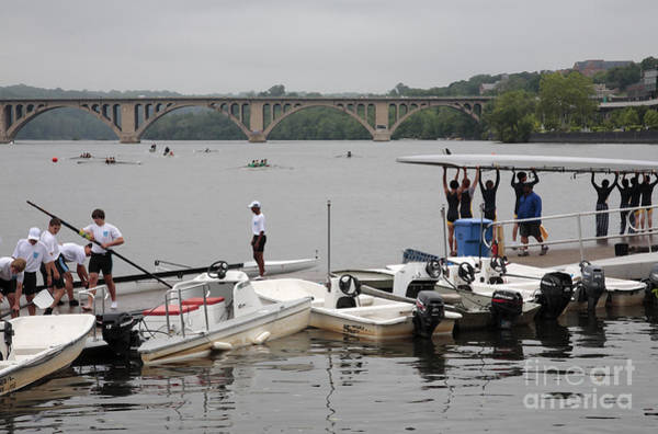 Digital Art - Boats Prepare At A Rowing Regatta On The Potomac In Georgetown by William Kuta