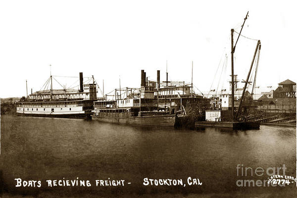 Photograph - Boats Recieiving Freight Stockton Calif. Circa 1910 by California Views Archives Mr Pat Hathaway Archives