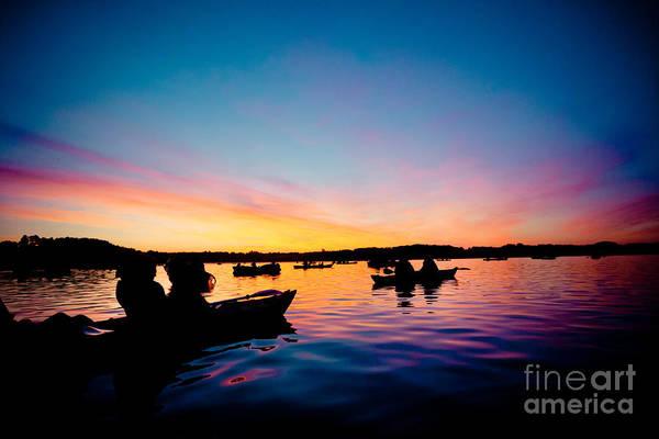 Photograph - Boats Sunrise Above Lake Water Summer Time Latvia Ezera Skanas by Raimond Klavins
