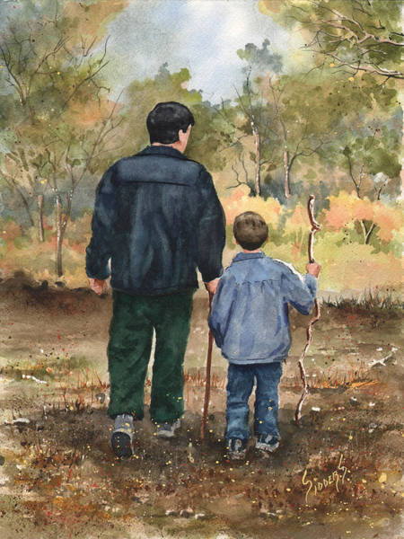 Dad Painting - Bob And Alex by Sam Sidders