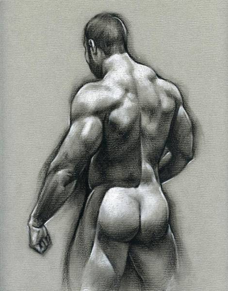 Male Nude Drawing - Bob by Chris Lopez