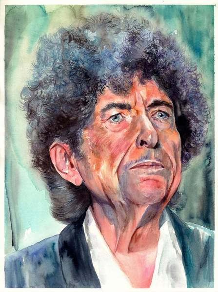 Old Blue Eyes Wall Art - Painting - Bob Dylan Watercolor Portrait  by Suzann Sines