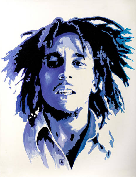 Reggae Painting - Bob Marley - Blue by Jocelyn Passeron