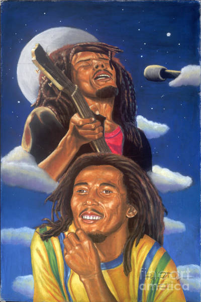 Bob Marley A Reflection Of  His Music Art Print by Sandra Pryer