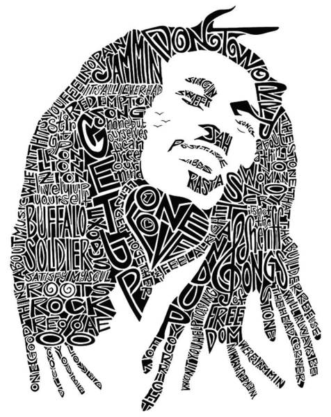 Rock Music Drawing - Bob Marley Black And White Word Portrait by Inkpaint Wordplay