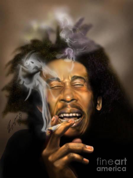Reggae Painting - Bob Marley-burning Lights 3 by Reggie Duffie