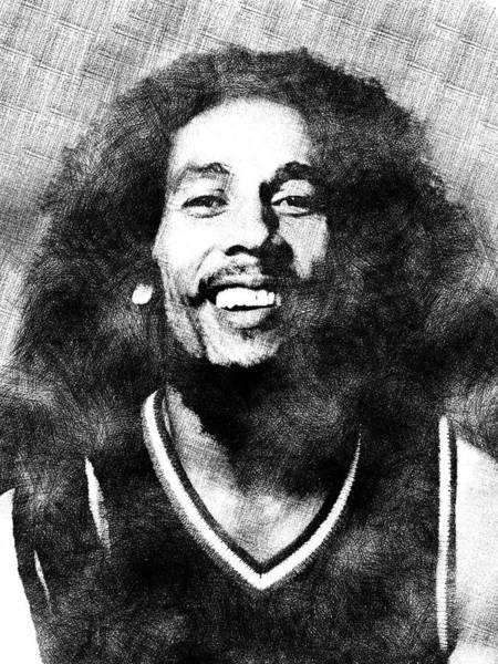 Aspect Digital Art - Bob Marley Portrait by Mihaela Pater