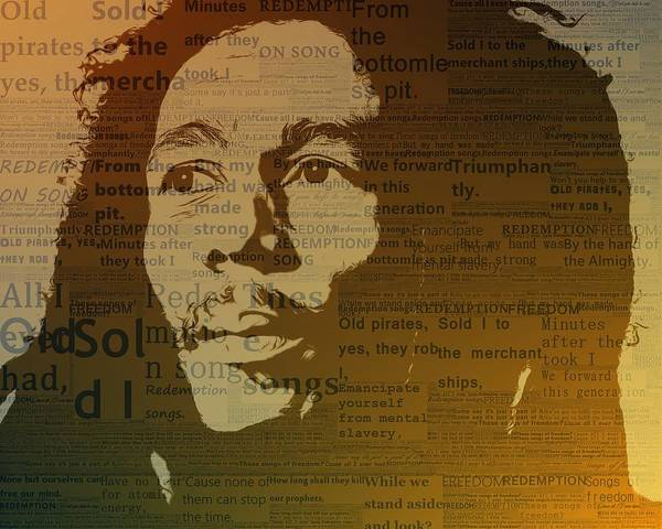 Marijuana Mixed Media - Bob Marley Redemption Song by Dan Sproul