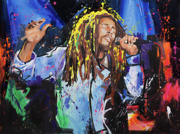 Live Music Painting - Bob Marley by Richard Day