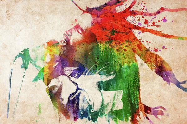 Reggae Wall Art - Digital Art - Bob Marley Singing Colorful Portrait by Mihaela Pater