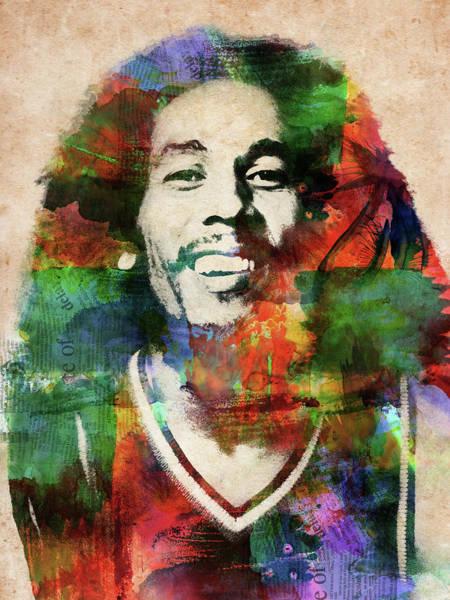 Reggae Wall Art - Digital Art - Bob Marley Watercolor Portrait by Mihaela Pater