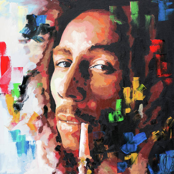Live Music Painting - Bob Marly IIi by Richard Day
