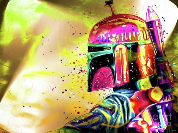 Sw Painting - Boba Fett Colorful Painting by Daniel Janda