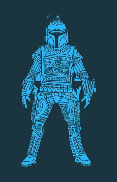 Star Wars Wall Art - Mixed Media - Boba Fett - Star Wars Art, Blue by Studio Grafiikka