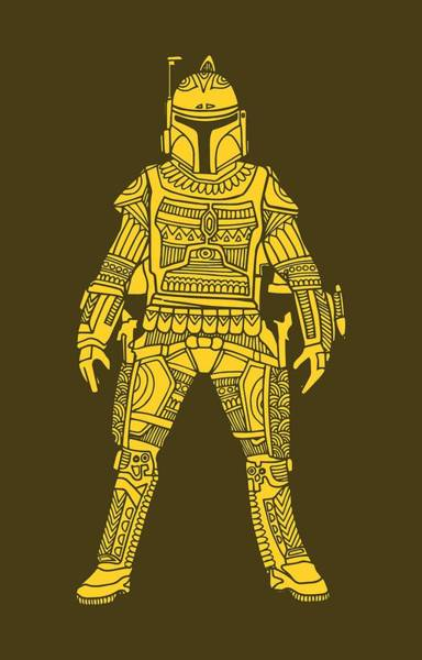 Darth Vader Mixed Media - Boba Fett - Star Wars Art, Yellow by Studio Grafiikka